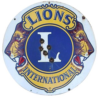 Large 1950s Lions Club Enameled Porcelain Sign