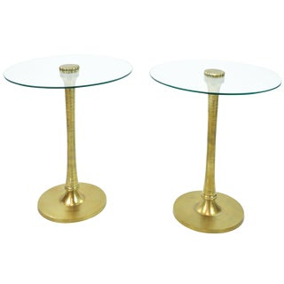 Gold Aluminum & Glass Drink Tables - A Pair