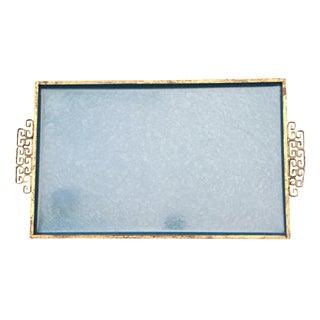 Vintage Kyes Moire Brass & Blue Glaze Tray