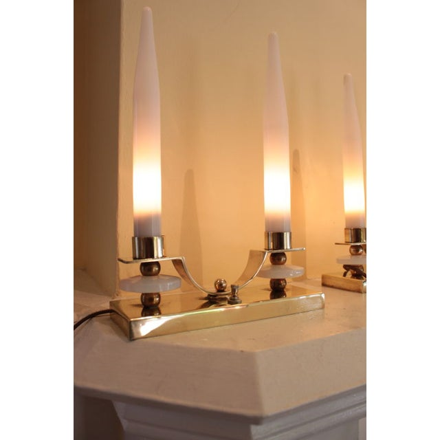 Jacques Adnet Brass Glass Candlestick Lamp - Pair - Image 3 of 5