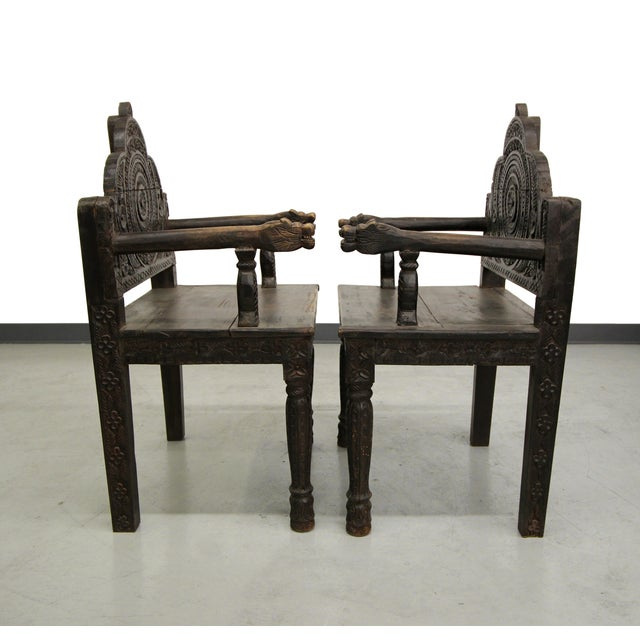 Antique Carved Wood Occasional Chairs - A Pair - Image 4 of 11
