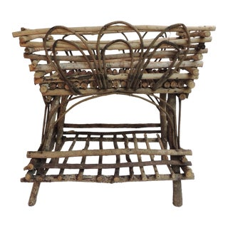 Vintage Willow and Wicker Large Plant Stand