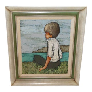 Modernist Oil Painting Portrait of a Boy by Chatelot