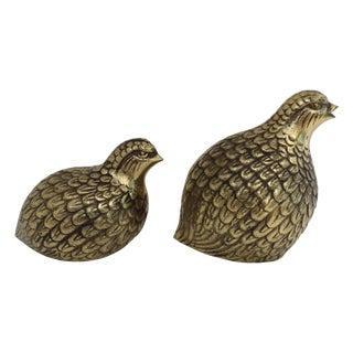 Mid-Century Brass Quail Figurines - A Pair