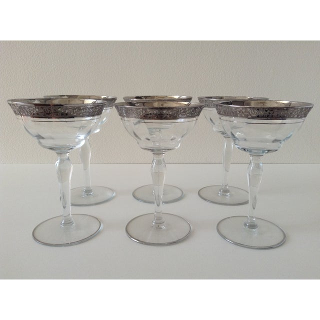 Sterling Floral Etched Cut Champagne Coupes- Set of 6 - Image 2 of 8