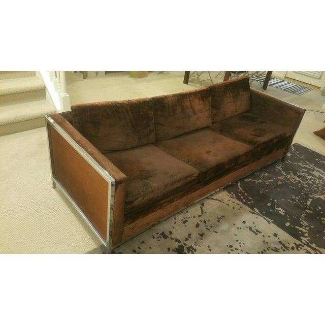 Image of Velvet and Chrome Sofa, Milo Baughman Style