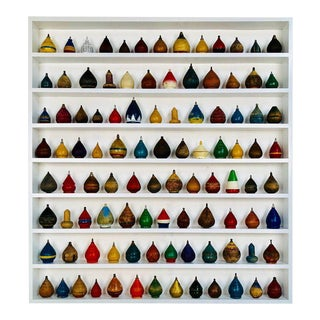 Antique Spinning Tops in a Custom Shadow Box Frame - Set of 100