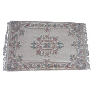 Small White Asian Rug - 2′ × 3′6″
