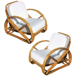Frankl Pretzel Arm Rattan Lounge Chair - A Pair