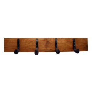 Oak Plank With Four Railroad Spike Hooks