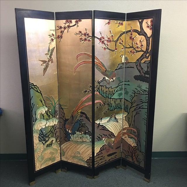Four Panel Metallic Chinese Screen - Image 3 of 10