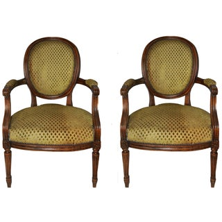 "Vintage French ""Cabriolet"" Armchairs - A Pair"
