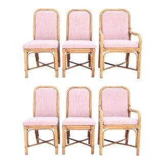 Twisted Rattan Bent Wood Pencil Reed Dining Chairs - Set of 6