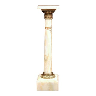 19th Century French White Onyx & Gilt Bronze-Mounted Pedestal