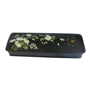 19th C. French Lacquer Handpainted Glove Box