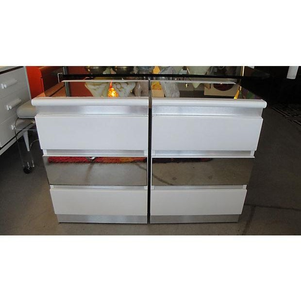 Rougier White, Mirror and Metal Nightstands - Pair - Image 2 of 6