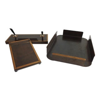 Art Deco Industrial Bronze Desk Set - 3 Piece
