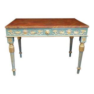Louis XVI Blue & Faux Marble Console
