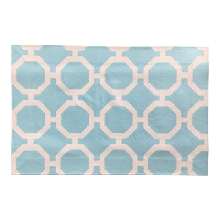 White & Blue Roundabout Canvas Rug - 2' × 3′