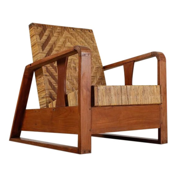 French Modernist Teak and Cane Lounge Chair, 1930s - Image 1 of 10