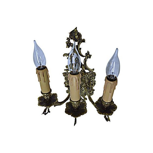 Light Coat of Arms Brass Sconce - Image 5 of 6