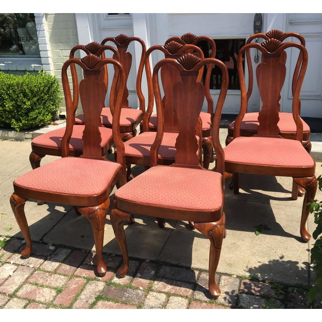 Queen Anne Style Mahogany Dining Chairs - Set of 8 - Image 6 of 7