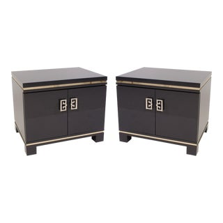 Mid-Century Grey Lacquer & Brass Greek Key Pulls Nightstands - Pair