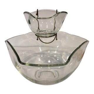 Vintage Glass Chip & Dip Bowl - Set of 2