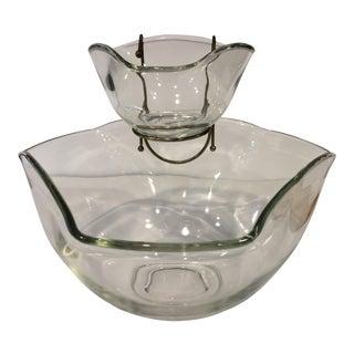 Vintage Glass Chip & Dip Bowl - Set of 2