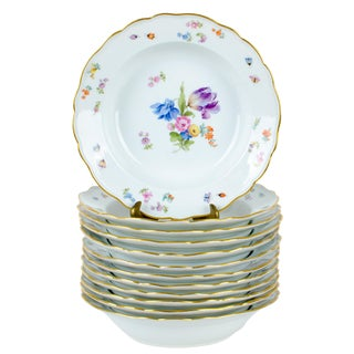 Meissen Floral & Insect Patterned Soup Bowls - Set of 12