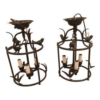 Bronze Birdcage Flushmounts - a Pair