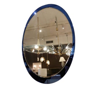 Large Oval Mid Century Wall Mirror in the style of Fontana Arte