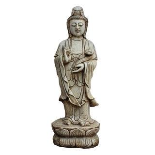 Chinese White Marble Kwan Yin Bodhisattva Statue