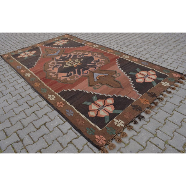 "Hand-Woven Turkish Kilim Rug - 6'7"" X 11'3"" - Image 9 of 10"