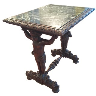 Antique Carved Cherub & Green Marble Table