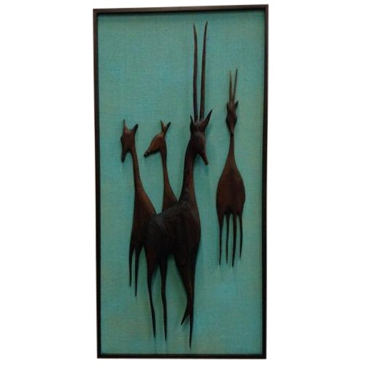 Carved and Media Blasted Wood Relief Gazelles - Image 1 of 3