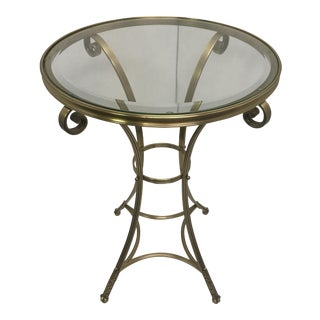 Round Glass Top and Brass Side Table