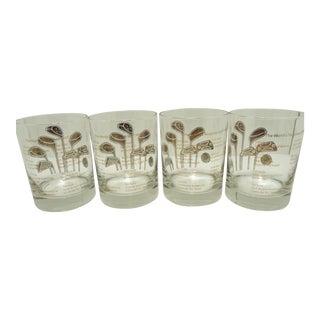 Vintage Gold Golf Club Bar Glasses- Set of 4