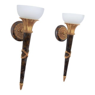 French Empire Inspired Contemporary Brass and Tortoise Shell Resin Wall Sconces- A Pair