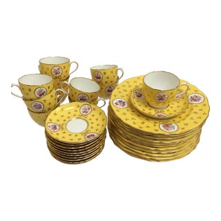 Vintage Spode China Set Yellow With Flowers - Set of 33