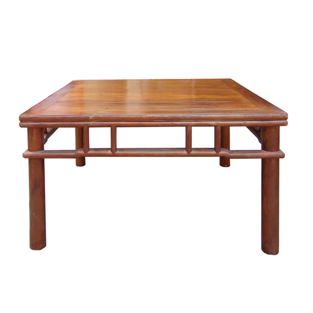 Chinese Ming Style Round Legs Square Coffee Table Chairish