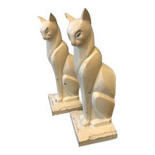 Art Deco Cast Metal Cat Bookends