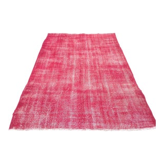 Turkish Pink Overdyed Handknotted Rug