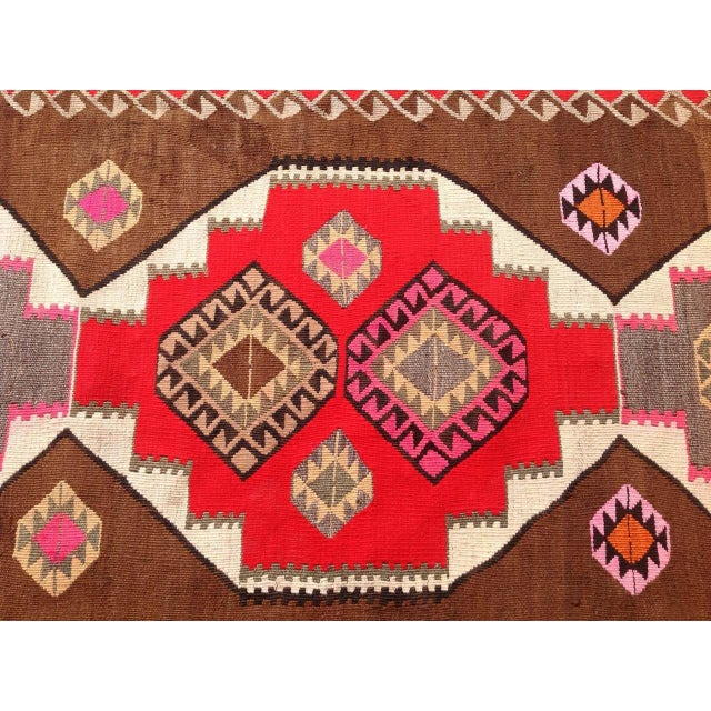 "Vintage Turkish Kilim Rug - 6'5"" X 11'6"" - Image 5 of 6"