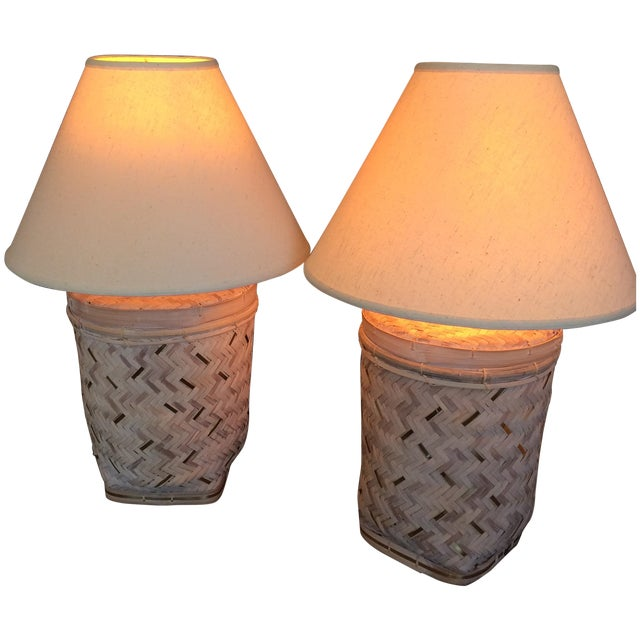 Rattan Basket Lamps With Brass Accents - a Pair - Image 1 of 7