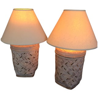 Rattan Basket Lamps With Brass Accents - a Pair