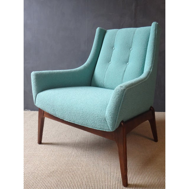 Mid-Century Reupholstered Turquoise Club Chair - Image 2 of 5