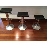 Image of Abc Home Bonaldo Black Leather Bar Stool -Set of 3