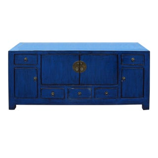 Chinese Indigo Blue Low TV Console Table Cabinet