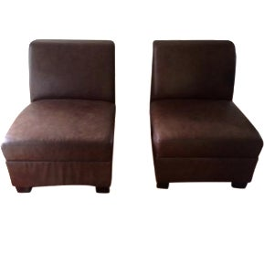 Pottery Barn Leather Slipper Chairs A Pair Chairish